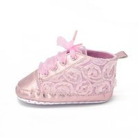 Wholesale First Month - The Baby Rroses Shoes Floral Style First Walkers Fashion Shoes Lace-up 0-18 Month To Choose Baby Shoes