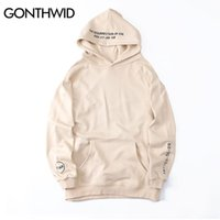 Wholesale Resurrection Man - Wholesale- GONTHWID Embroidery Letters Hoodies 2017 Resurrection of Evil Side Split Pullover Hooded Sweatshirts Hip Hop Cotton Loose Hoodie