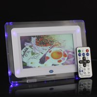 Multi-fonctionnel 7 TFT-LCD Digital Photo Picture Frame MP3 Alarm MP4 Player Horloge Lumière Clignotant Remote Desktop Control