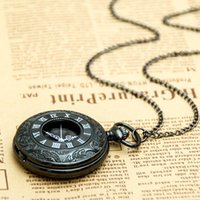 Wholesale Pocket Watch Displays - 2016 hot!!!!The new black lead double display Rome POCKET WATCH necklace, sweater chain, fashion table, the best Christmas gift