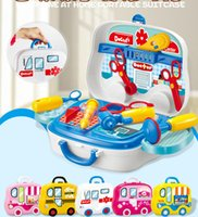 Wholesale Toy Suitcases - 5 Types pretend Play Children simulation kitchen cooking tableware dressing Makeup suitcase doctor Kids Plastic toy set