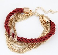 Wholesale Wholesale Arm Candy Bracelets - DHL Free Shipping Wholesale Fashion Women Jewelry Multi Layer Adjustable Gold Link Chains Patchwork Lobster Clasp Arm Candy Bracelets