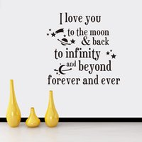 Wholesale I Love Wall Stickers - I love you to the moon and back Quotes Wall Stickers Decal Words Lettering Saying Wall Decor Sticker Vinyl Wall Art Stickers Decals