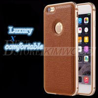 Wholesale Bumper Iphone Original - Phone Case For iPhone 6 6 Plus Original Metal Soft TPU One-piece Forming Frames and Leather Back Cover Bumper Shell iPhone Cases