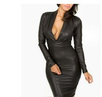 Wholesale Leather Ball Dresses - Party Dress Black Red dresses for womens Plunging V-neck Long-sleeve Leather Bodycon Dress sexy women party clubwear
