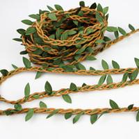 yapay roping toptan satış-Yaprakları Ile 5 m Wax Kordon Yapay Çiçekler Rattan DIY garland hairband Aksesuar Ev Dekorasyon Için Hasır El Sanatları halat