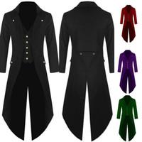Wholesale uniform buttons - Men's Pure Color Fashion Coat Punk Tuxedo Men's Uniform Luxury Brand Long Man's Wedding Suits