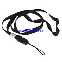 Wholesale camera neck strap lanyard holder - Cell Phone Charms Straps Black Lanyard Neck Strap for ID Pass Card Badge Mobile Phone Holder Camera
