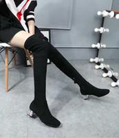 Wholesale Vogue C - black matte genuine leather rubber knee high flower flat boots c fashion women vogue brand