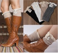 Wholesale Lace Socks For Boots Wholesale - DHL Button Down Short Leg Warmers Boot Knit Lace Leg Warmers Boot Cuffs Boot Toppers for Women Winter Warm Boot Socks K5511