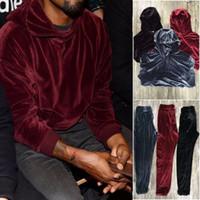 Wholesale Button Up Pants - Wholesale- Vellsar Men Women Velour Pants Joggers 2017 Hip Hop Solid Velvet hooded Hoodie Sweatpants Pullover Sweatshirts Tracksuit US SIZE