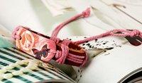 schmetterlingsseil großhandel-2015 neueste Version Punk-Stil 100% echtes Leder Armband Friedenszeichen Butterfly-Muster Hanfseil verstellbares Armband 20pcs / lot