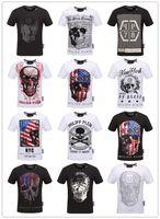 Wholesale Linen Casual Fashion For Men - Free freight HOT New 2018 Fashion Short Sleeve 100% Cotton qp shirt men famous Brand p t shirts for men hip hop skull mens tops tee t shirt