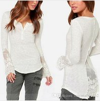 Wholesale Embroidery Floral Lace Crochet Blouses - Lace Blusas Fashion Women Sheer Embroidery Floral Crochet Lace Blouse Sexy Blusas Shirt Clothing Femininas S-3XL new arrive free shipping