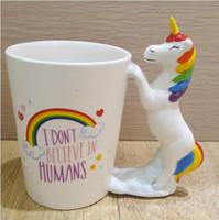 12 stück schröpfen großhandel-Einhorn Becher 3D Keramik 2 Stil Kaffee Milch Tasse mit Handgriff Großhandel Tee Tassen 12 Stück YYA904