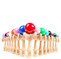 Wholesale Cheap Wood Rounds - Children Sports Toys Factory Price Spring Jumbo Kendama Ball Japanese Wood Education Game Round Ball 18*6*7cm Cheap Free Shipping