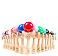 fábrica de brinquedos japoneses venda por atacado-Crianças Brinquedos Esportivos Preço de Fábrica de Primavera Jumbo Kendama Bola de Madeira Japonesa Educação Jogo Bola Redonda 18 * 6 * 7 cm Barato Frete Grátis