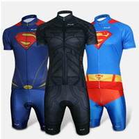Wholesale Ironman Cycling Clothes - 2015 Spiderman Superman Batman Ironman Captain America Cycling Jersey + Bib Shorts Suit Road Super Hero Bike Clothing set