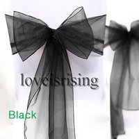 Wholesale track shipping number for sale - Group buy Tracking Number Black Color quot cm W x quot cm L Organza Chair Sashes Wedding Party Banquet Decor