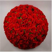 ingrosso palle di rosa di fiori di seta-Crittografia artificiale Rose Silk Flower Kissing Balls Hanging Ball Ornamenti di Natale Decorazioni per matrimoni Spedizione gratuita