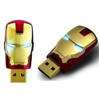 Wholesale Memory 64gb Iron Man - 64GB 32GB 16GB 8GB real capacity LED Iron Man Head USB 2.0 USB Flash Drive Pen Grade A Drives Memory stick for iOS Windows Android