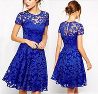 Wholesale Royal Blue Vintage Lace Party Dresses Knee Length Cocktail Dresses with Sheer Jewel Short Sleeves Elegant Formal Prom Gowns