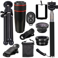 Wholesale Telescope 8x - New 10 in 1 HD 12X 8X Optical Zoom Telephoto Telescope Set Wide Angle Macro Phone Lens With Tripod Magnification Lenses