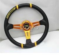 Wholesale Steering Wheel 14 Inch - New MOMO leather steering wheel racing steering wheel universal 14-inch modified car steering wheel