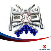 """Wholesale Pipe Intercooler - PQY STORE- 3.0' '76mm TURBO INTERCOOLER PIPE 3.0"""" L=600MM CHROME ALUMINUM PIPING PIPE TUBE+T-CLAMPS+ SILICONE HOSES BLUE PQY1719"""