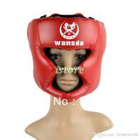Wholesale Geared Head - New Boxing Helmet Headgear Head Guard Training Helmets Kick head protection face guard Gear Red TK0785
