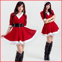 Wholesale Mascot Costumes For Girls - 2017 New Green Red Christmas Mascot Dress Girls Sexy Costumes For Santa's Adult Costumes