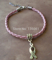 Wholesale Wholesale Jewelry Leather Braclets - 2015 Fashion 50PCS Vintage Silvers Hope Ribbon Charms Pink Weave Leather Good Luck Braclets& Bangles Gift For Women Jewelry Accessories X298