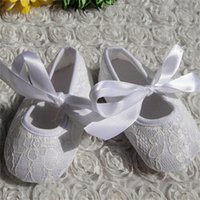 Wholesale Shoes For Baptism - kids shoes Girls New 2016 newborn shoes White First Shoes for Baptism Dresses and Baby girls Gold 100% Cotton Fabric Flower Tied Sneakers