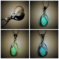 Wholesale Hollow Teardrop Pendant - 2015 New Halloween Gift Glow In The Dark Hollow Teardrop Necklace Pendant Gothic 925 Silver Chain Glow Dark Necklaces 20pcs lot