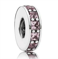 Wholesale Stone Pandora - Wholesale Round With Pink Crystal Stone Charm 925 Sterling Silver European Charms Bead Fit Pandora Snake Chain Bracelets DIY Jewelry