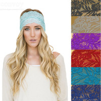 Wholesale Womens Headwear - New lace Womens Crochet Lace Knit Hoop Wide Stretch Headband Hair Band Ladies headwear head wraps Turban Bandanas Free Shipping WHA18