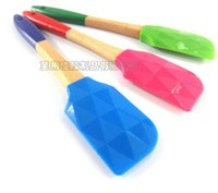 Wholesale Diamond Polishers - Wood Diamond Silicone Baking Cream Butter Cake Batter Spatula Scraper Brush Tool Professional Kitchen Tools Silicone Cookware Spatula 032