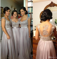 Wholesale bridesmaid dresses under 50 online - 2018 Cheap Sexy Silver Prom Dresses Bridesmaid Dresses Lace Appliques Sequins Beads Cap Sleeves V Neck Chiffon Party Evening Gowns CPS233