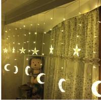 neue festival dekorative lichter großhandel-Neue 4 Mt * 0,6 MLED Mond Vorhang Lichter Pentagramm Eislaterne Stern Festival Laterne Dekorative Lichter String