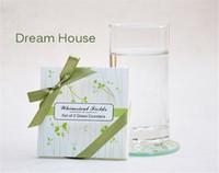 cam bardak yana toptan satış-Toptan Lots 20 adet Kare Yeşil Yapraklar Cam Coaster kupası mats pedleri + hediye kutusu şerit düğün iyilik bebek duş düğün hediyesi