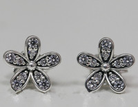 Wholesale 100 High quality Sterling Silver Daisy Stud Earrings with Clear Cz Fits European Pandora Jewelry Earrings