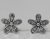 Wholesale European Earrings Silver 925 - 100% High-quality 925 Sterling Silver Daisy Stud Earrings with Clear Cz Fits European Pandora Jewelry Earrings
