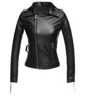 Wholesale Sexy Leather Jackets Fur - FREE SHIPPING New BLUEGRANT Fashion 100% SHEEP REAL LEATHER Sexy Hot Wholesale Retail Quality LEATHER BIKE JACKET WITH ZIPPER PATCH OEM &ODM