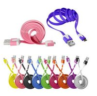Wholesale Mini Usb Flat - Wholesale-200 pcs lot Fedex Free 1m Colorful flat Micro Mini 5Pin USB Data Sync Noodles Charger Flat Cable for Samsung HTC LG