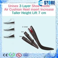 Wholesale Women Height Increasing Insoles - Men and Women 3 Layer Shoe Insole Air Cushion Heel insert Increase Taller Height Lift 7cm 100pair,wu