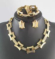 gelin altın yeni takımları toptan satış-Yeni Tasarımcı Altın Kaplama Moda Düğün Gelin Aksesuarları Bilezik Küpe Kolye Takı seti