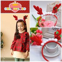 Wholesale Wholesale Antler Headbands - 2015 Baby Children's Fashion Headwear Hair Ornaments Handmade Christmas Flower Festival Antlers Headband Headbands Wholesale