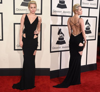 Wholesale Miley Cyrus Prom Dresses - 2016 New 58th Grammy Awards Miley Cyrus Sexy Back Evening Dresses Mermaid Long V Neck Criss Cross Celebrity Dresses Red Carpet Prom Gowns