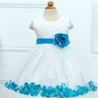 Wholesale Real Retail Sales - 2015 Real Hot Sale Regular Bow Baby Girl Clothes Elsa Kids Clothes 1pcs Retail Girls Big Flower Petal Dress Princess Wedding