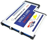 Wholesale Expresscard Card 54mm - Wholesale-3 Port Hidden Inside USB 3.0 USB3.0 to Expresscard Express Card 54 54mm Adapter FRESCO LOGIC Chipset FL1100 Free Shipping